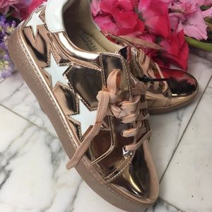 Shoes - Sneakers Metallic Rose Gold Stars NWT Size 8.5